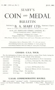 Seaby's Coin and Medal Bulletin: July 1965