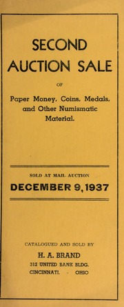 Second auction sale : paper money, coins, medals, and other numismatic material. [12/09/1937]
