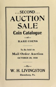 Second auction sale : coin catalogue of rare coins to be sold at mail order auction ... [10/29/1938]