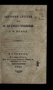 Seconde lettre de M. de Lally-Tolendal a M. Burke.