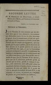 Seconde lettre de M. Bertrand de Moleville, ci-devant ministre de la marine, au président de la Convention nationale de France.