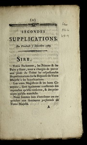 Secondes supplications : du vendredi 7 décembre 1787.