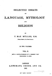 selected essays on language mythology and religion muller f  selected essays on language mythology and religion