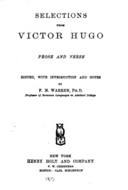 Selections from Victor Hugo, prose and verse;