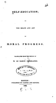 Self-education ; or, The means and art of moral progress