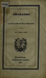 Separation de la Hollande et de la Belgique, 22 Octobre 1830