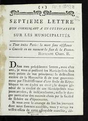 Septieme lettre d-un commerçant à un cultivateur sur les municipalités.