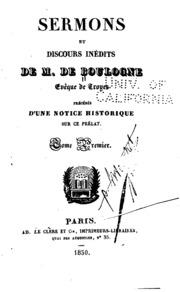 Vol 1: Sermons et discours inédits de M. de Boulogne ...: précédés d-une notice ...
