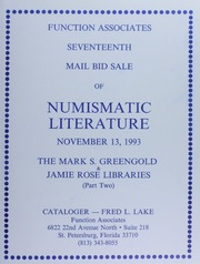 Seventeen Mail Bid Sale of Numismatic Literature