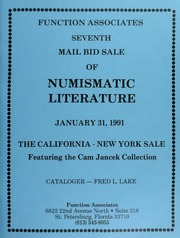 Seventh Mail Bid Sale of Numismatic Literature