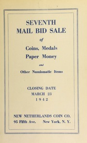 Seventh mail bid sale of coins, medals, paper money and other numismatic items. [03/23/1942]
