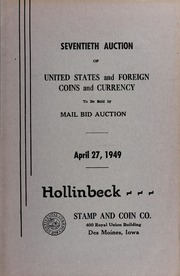 Seventieth Auction of United States and Foreign Coins and Currency