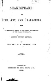 memoirs of the life of william shakespeare an essay toward  vol 1 shakespeare his life art and characters an historical sketch of the origin and growth of drama in england