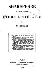Shakspeare et son temps: étude littéraire