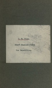 Short English poems for repetition : Rice, Charles Macan : Free