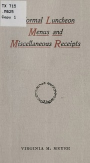 simple menus for informal affairs meyer virginia may keller 1864