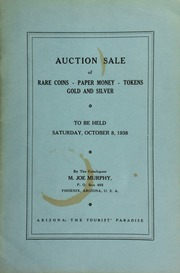 Sixth auction sale : catalogue of rare coins, tokens, paper money, miscellaneous gold and silver ... [10/08/1938]