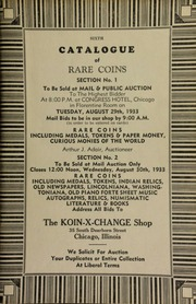 Sixth catalogue of rare coins: section no. 1 ... including medals, tokens and paper money; section no. 2 ... including ... numismatic literature ... [08/29-30/1933]