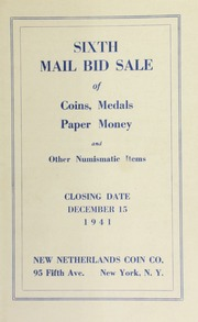 Sixth mail bid sale of coins, medals, paper money and other numismatic items. [12/15/1941]
