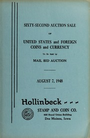 Sixty-Second Auction Sale of United States and Foreign Coins and Currency