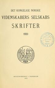 Skrifter - Det Kongelige Norske Videnskabers Selskab, 1920