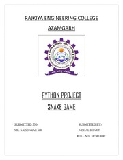 Project On Snake Game using Python : Javed : Free Download