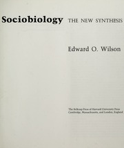 Sociobiology The New Synthesis Pdf