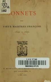 Sonnets des vieux maistres françois, 1520-1670