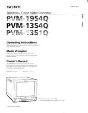 Sony Monitor Manual: PVM 1954Q 1354Q 1351Q Operating Instructions ...