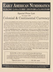 Special Price List: Colonial and Continental Currency