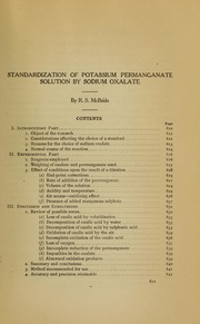 standardization of potassium permanganate essays Forgotten books standardization of potassium permanganate solution by sodium oxalate (classic reprint) -by- mcbride, r s sold by nitro gadget $3313 forgotten books the titration of iron by potassium permanganate: a thesis (classic reprint) by finkelstein, leo.