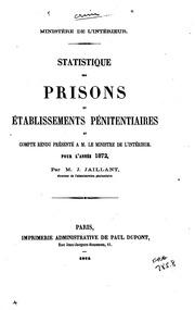 Statistique des prisons et établissements pénitentiaires pour l-année ...