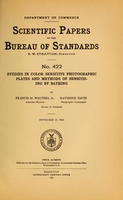 sensitometry of photographic emulsions and a survey of the characteristics of plates and