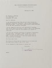 Michael Sullivan Correspondence, 1991 to 1997