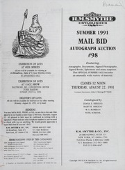 Summer 1991 Mail Bid Autograph Auction #98