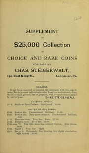 Supplement to $25,000 Collection ..., No. 62D