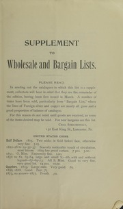 Supplement to Wholesale and Bargain Lists