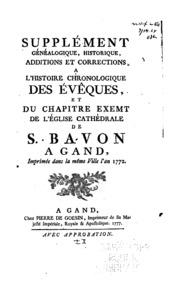 Supplément généalogique, historique, additions et corrections a L-Histoire ...