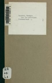 Sur les principes fondamentaux de la théorie des nombres et de la géométrie