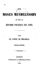 Sur Moses Mendelssohn, et sur la réforme politique des juifs
