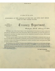 Suspension of the Coinage of the One and Five Cent Minor Coins of the United States
