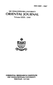 S.V.U. ORIENTAL JOURNAL VOL:-29 PART:-1and2
