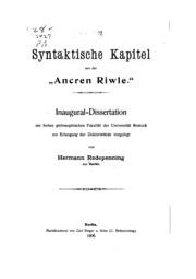 Syntaktische Kapitel aus derancren Riwle....