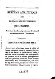 Système analytique des connaissances positives de l-homme: restreintes à ...