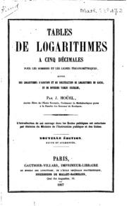 Tables de logarithmes à cinq décimales pour les nombres et les lignes ...