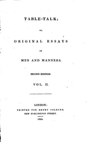 table talk or original essays william hazlitt  vol 1 table talk or original essays