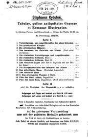 Tabulae Quibus Antiquitates Gracae et Romanae Illustrantur