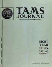 TAMS Journal: Eight Year Index 1961-68 Volumes 1-8, Vol. 9, No. 4(2)