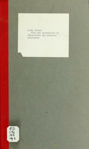 État des inventaires et répertoires des archives nationales, départementales, communales et hospitalières de la France à la date du 1er décembre 1919