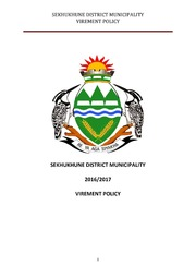 SDM VIREMENT POLICY 2016-17